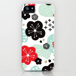 Japanese inspired cherry blossom pattern iPhone Case