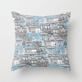 Paris toile cornflower blue Throw Pillow