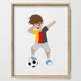 Lets Dabb and Have fun playing Soccer in belgium Serving Tray