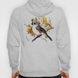Titmouse and Fall colors foliage bird art design bird lover gift vintage style Hoody