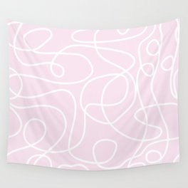 Doodle Line Art | White Lines on Palest Pink Wall Tapestry