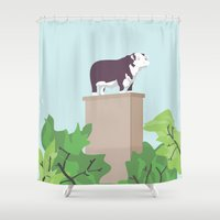 kansas city Shower Curtains featuring Kansas City Cow by greetingsfromKC