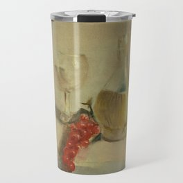Fruit with Bottle of Water - Oil Painting Print Travel Mug