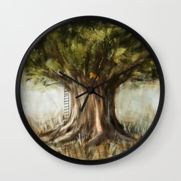 little fox on tree Wall Clock