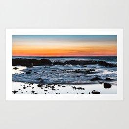 Cape Perpetua incoming tidal waves at sunset Art Print