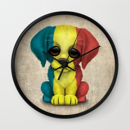 Cute Puppy Dog with flag of Romania Wall Clock