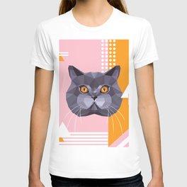 British Shorthair on a Memphis style T-shirt