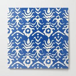 Blue Ikat Damask Print Metal Print