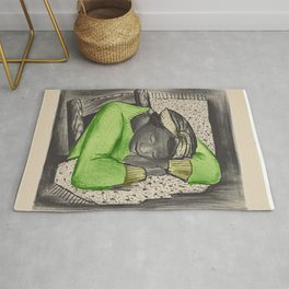 Vintage Folk Art - Sleeping Girl - Rug