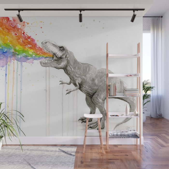 T Rex Dinosaur Rainbow Vomit Taste The Rainbow Wall Mural By Olechka