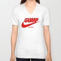 forrest gump V-neck T-shirts featuring Gump- JustDoIt III by IIIIHiveIIII