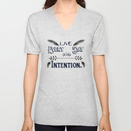 Live Every Day with Intention Feathers A350 Unisex V-Neck