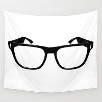 glasses Wall Tapestries featuring Glasses by Bjarni Bragason