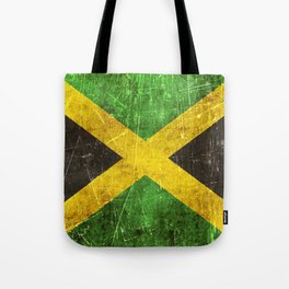 Vintage Aged and Scratched Jamaican Flag Tote Bag