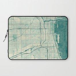 Chicago Map Blue Vintage Laptop Sleeve