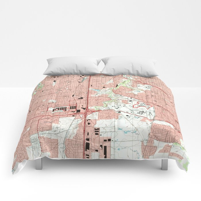 Fort Worth Texas Map (1995) Comforters
