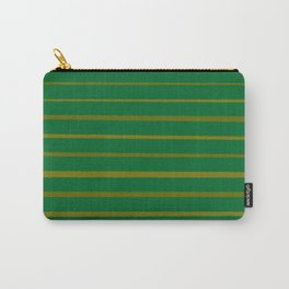 Emerald Green and Honey Gold Thin Stripes Carry-All Pouch