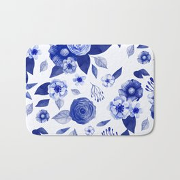 blue and white watercolor floral Bath Mat