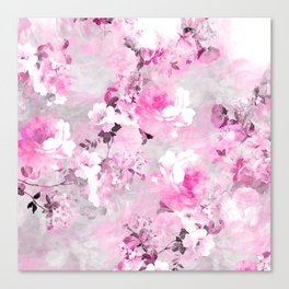 Purple grey floral watercolor romantic flowers pattern Canvas Print