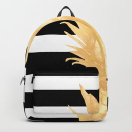 Gold Pineapple Black and White Stripes Backpack