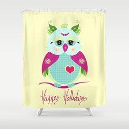 Purple Owl Shower Curtain