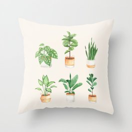 House Plants: Watercolor Edition Throw Pillow