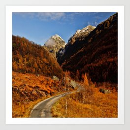 Fall in the mountains with a winding road Art Print