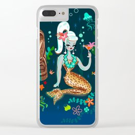 Blonde Leopard Martini Mermaid Clear iPhone Case