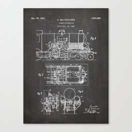 Steam Train Patent - Steam Locomotive Art - Black Chalkboard Canvas Print