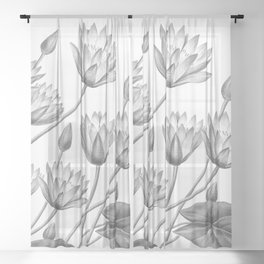 Water Lily Black And White Sheer Curtain