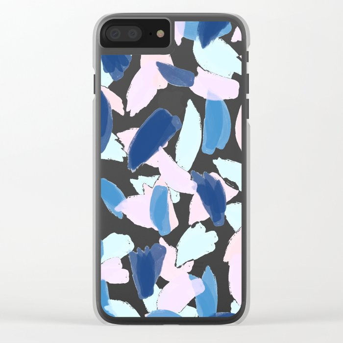 Blue and Pink Paint Clear iPhone Case