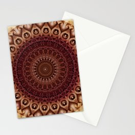 Mandala in brown and red tones Stationery Cards