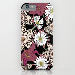 Lilies, spotted stapelia flowers and cactus flowers. Exotic Botanical iPhone Case