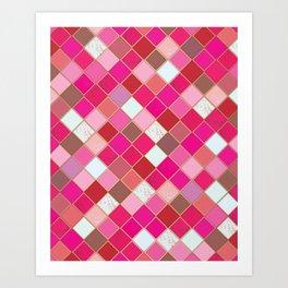 Pink Tiles Pattern Art Print
