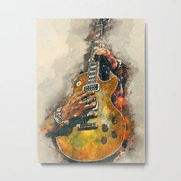 slash's electric guitar, guitar wall art, studio decor, music room decor, gift for guitarists Metal Print