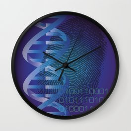 CSI DNA Crime Scene Fingerprint Cool Modern Graphic Illustration Wall Clock