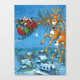 Santa circling over the little town of Bishop Hollow Canvas Print
