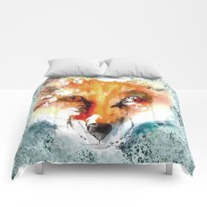 Wild wild Fox - Animal in the forest- watercolor illustration Comforters