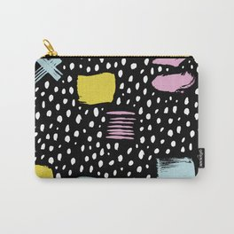 Memphis black spots freckles strokes and crosses Carry-All Pouch