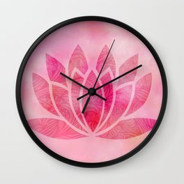 Zen Watercolor Lotus Flower Yoga Symbol Wall Clock