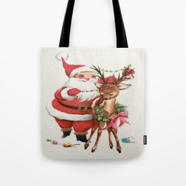 Santa and reindeer Tote Bag