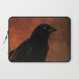 Crow Portrait In Black And Orange Laptop Sleeve
