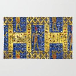Egyptian  Gold  symbols on Lapis Lazuli Rug