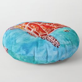 Sea turtle and friend Floor Pillow