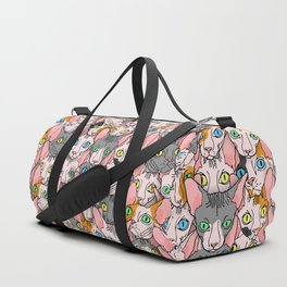 diverse sphynx cat allover print Duffle Bag
