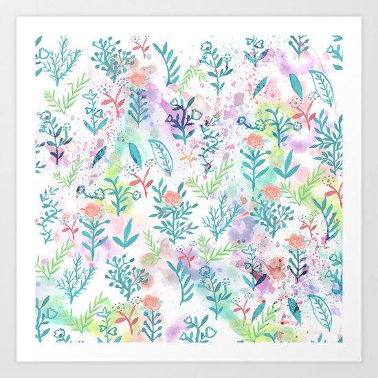 Hand drawn coral pink green watercolor floral Art Print