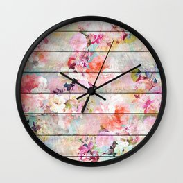 Summer pastel pink purple floral watercolor rustic striped wood pattern Wall Clock