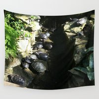 turtles Wall Tapestries featuring turtles  by Katie A.M.