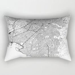 Athens White Map Rectangular Pillow