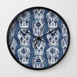 AZTEC MUERTOS Watercolor Indigo Skulls Wall Clock